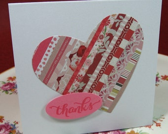 Set of 7 Thank You Cards, Heart, Quilt Inspired, Pinks, Blank Inside (#35)