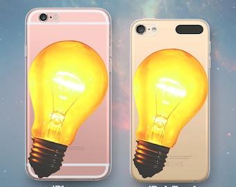 Glowing Yellow Orange Lightbulb Smart Idea Genius Thinker Light Bulb Fun Cool Clear Rubber Case for iPhone 7 6s 6 Plus SE 5s 5 5c iPod Touch