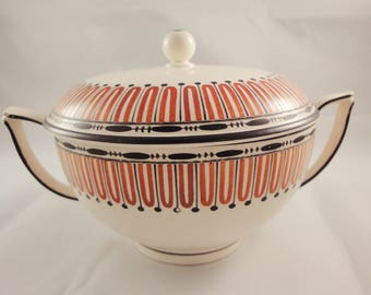 Art Deco Lidded Sugar Bowl / Bon Bon Dish with Geometric Pattern