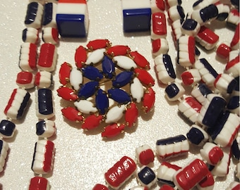 Awesome Vintage Red White and Blue Set Of 3 Earrings,Necklace And Rhinestone Brooch