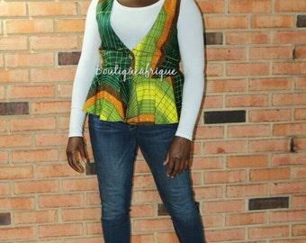 Peplum Top Vest- African Print Vest- Vest Women- Women's Vest- Vest For Women- Plus Size Vest- African Clothing- African Dress- African