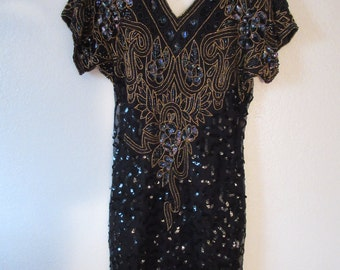 Absolute Stunning Black Sequin Dress by Laurence Kazar of New York - Size PP