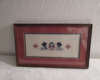 "Vintage Handmade Cross Stitch ""Amish Children"" Wall Hanging"