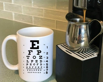 Optometrist Gift Eye Chart, Mugs for Optometrist, Optometry Graduation Gift, 11 oz , 15 oz