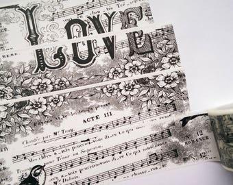 Washi tape black white music notes vintage