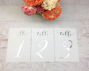 Silver Table Numbers - Wedding Table Markers - Wedding Table Decor - Silver Table Decor - White Table Markers - Silver Foil Table Numbers