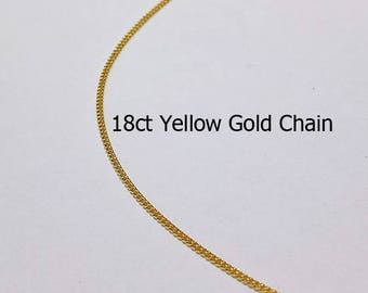 18ct 750 Solid Yellow Gold Curb Link Chain Necklace for Pendant Jewellery - PS19