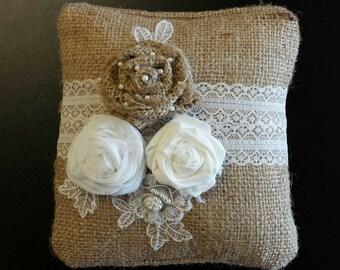 Burlap Ring Bearers Pillow
