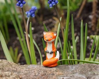 Clay red fox, clay fox figurine, clay animal, red fox, cute fox