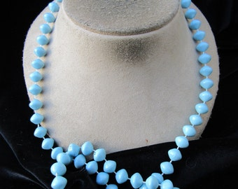 Vintage Long Baby Blue Beaded Necklace