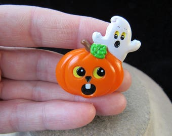 Vintage Halloween Signed Russ Ghost Pumpkin Pin