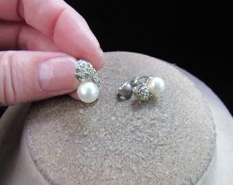 Vintage Pair Of Rhinestone & Faux Pearl Clip Earrings