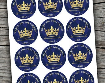 Royal Baby Shower/ Prince Stickers/ Prince Crown Favor Tags/ Royal Cupcake Toppers / Royal Baby Stickers / Crown Stickers/ Crown Tags