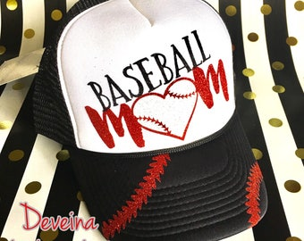 Baseball mom glitter hat