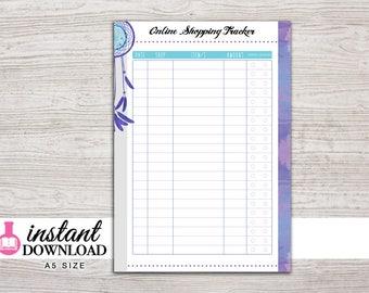 A5 Planner Printable - Online Shopping Tracker - Filofax A5 - Kikki K Large - Design: Chasing Dreams