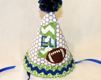 Boy's First Birthday Party Hat  - Green and Royal Blue with football.  Includes personalization.