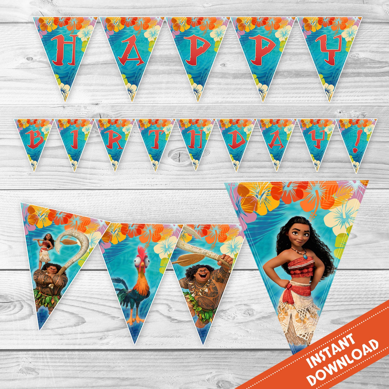 Moana Birthday Banner Party Banner Moana Maui Banner