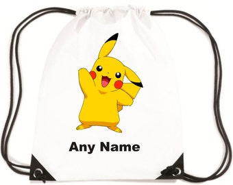 Personalised Pikachu/Pokemon Style PE/School/Swimming Bag