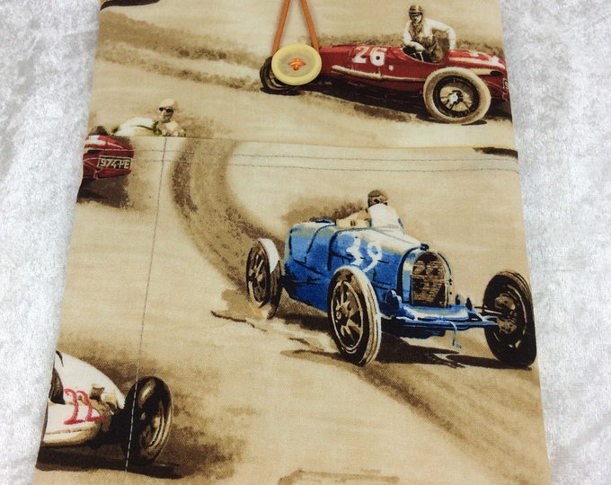 Racing Cars Classic Cruisers Small Tablet Case fabric cover pouch handmade in England