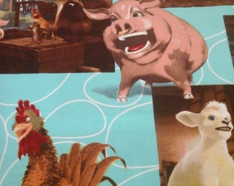 Pig Chicken Mouse Farm Scene  Fabric 1 Yard Cotton