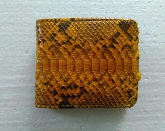 Genuine Python Snake Skin Leather Mens Bifold Wallet Yellow + FREE SHIPPING