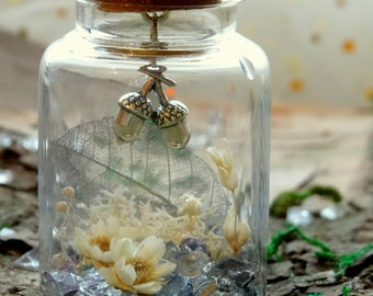 Fairy garden in a jar with acorn charm, nature gift, real flower garden, cute gift, real dried flower arrangement