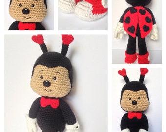 CROCHET PATTERN: Lucky LoveBug Valentines Amigurumi Doll