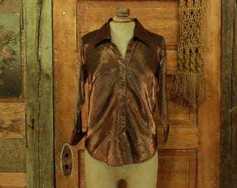 CLEARANCE vintage 1990s shimmery copper penny blouse S