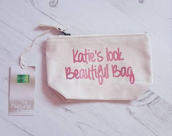 Handmade Makeup bag/Pouch/Holder made with your own personalisation.