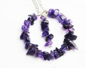 Amethyst Necklace Chipped Amethyst Necklace Amethyst Round Necklace Silver Amethyst Necklace Amethyst Pendant Anniversay Gift