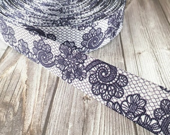 Wedding ribbon - Purple lace look - Fancy printed ribbon - Wedding grosgrain ribbon - Vintage look - Popular wedding ribbon - 3 or 5 yards