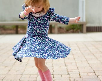 Navy Unicorn dress, pink and navy dress, flutter sleeve dress, spring dress