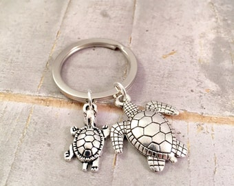 Turtle Keychain, Mother daughter keychain, Best Friends Keychains, Turtle Charm, Turtle Jewelry,  new mom, push present, mother's day gift