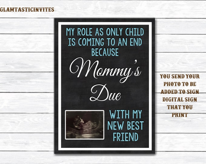 Pregnancy Reveal, Only Child Expiring, Pregnancy Announcement, Big Brother, My New Best Friend, Photo Prop, Chalkboard, Only Child, DIGITAL