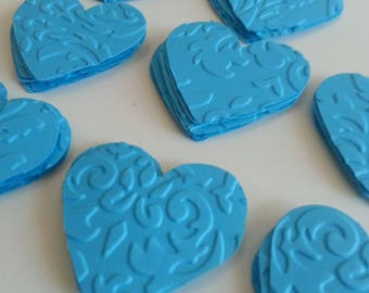 Turquoise hearts, Embossed hearts, Paper hearts, Heart punches, Heart die cuts, Heart confetti, Wedding hearts