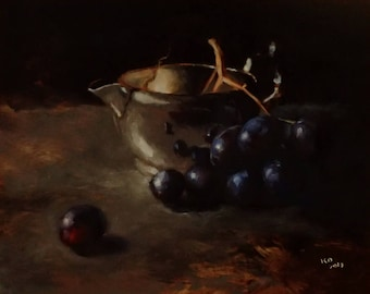 cup & grapes - original oil painting