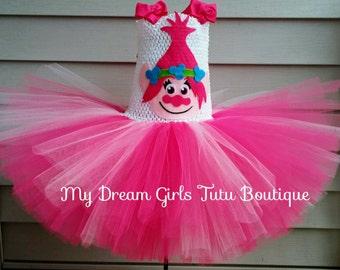 Trolls birthday dress, poppy troll dress, poppy tutu dress, poppy and branch dress, troll tutu, the trolls birthday tutu, troll poppy