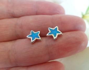 925 Silver Earrings - Blue Fire Opal Star Earrings, Tiny Stud Earrings