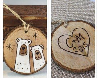 Polar bear ornament, custom couples Christmas ornament, wood burning on wood slice, custom ornament, wedding gift, engagement gift