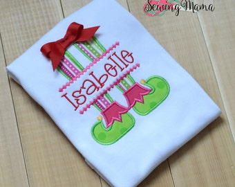 Elf Feet Applique Shirt or Bodysuit-NAME INCLUDED