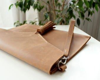 Leather Clutch bag Women's Genuine Leather Clutch Purse Tassel Brown leather Simple purse Color variations Envelope purse Wrislet clutch
