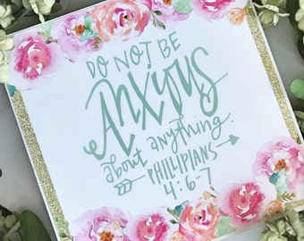 Bible verse sign, Do Not be anxious wooden sign, Philippians 4:6-7 Wall Art, Do not worry about anything, Scripture Art, Inspirational Quote