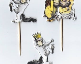 Wild Things Cupcake toppers, Wild one, wild, Double sided cupcake toppers, where the wild things are