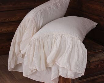 100% Linen Pillow Case Longue Ruffles Organic Stone wahed linen pillowcase cover European softened flax Ruffles Pillow cover Case Slip
