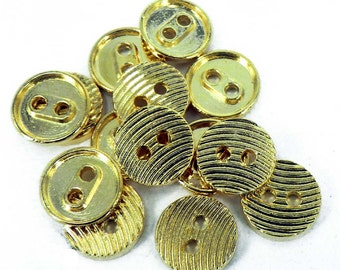 10 x Gold Costume Sewing Theater Buttons 2 Holes Small 12mm  B93