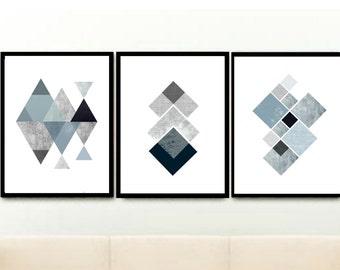 Set of 3 Prints, Geometric Art Prints, Triptych Prints, Scandinavian Art, Printable Art, Abstract Art, Wall Decor, Digital download