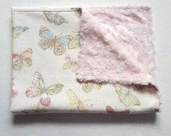 Pastel Butterfly Baby Blanket, Baby Shower Gift, Butterfly Throw, Butterfly Nursery, New Baby Gift, Baby Shower Gift - Ready for Dispatch