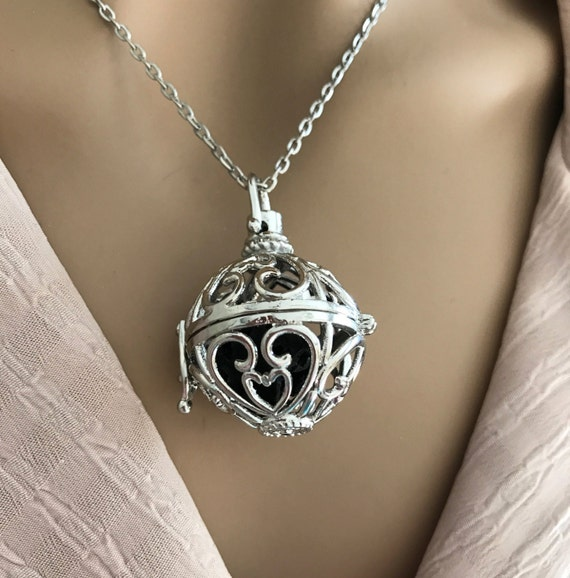 Magic Music Box Locket. Silver Filigree Hearts & Lotus. Use with Lava Stone for Essential Oil Aromatherapy, Prayer Box or with Chime Ball.