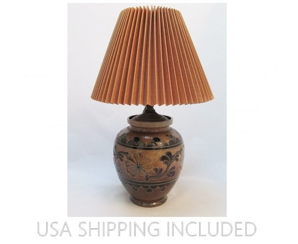 Hand Made Pottery Lamp With Shade German Salt Glazed Stoneware