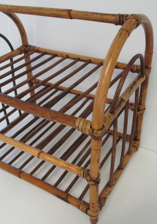 rattan shelf rack three tier 1950 39 s mid century modern. Black Bedroom Furniture Sets. Home Design Ideas